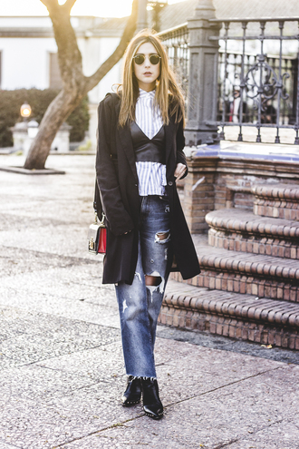 shoes and basics blogger shirt jeans coat shoes bag ripped jeans shoulder bag spring outfits black coat ankle boots leather top