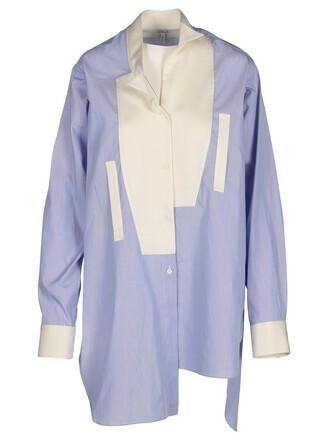 shirt asymmetric shirt white blue top