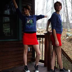 Forever 21 the little mermaid sweatshirt, h&m basic skirt