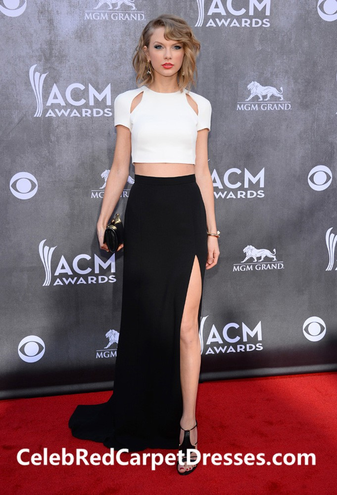 Taylor Swift Black and White Two-piece Red Carpet Dress ACM Awards 2014