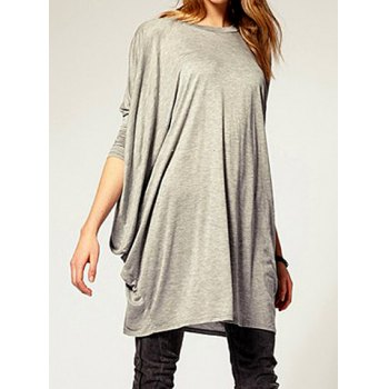 Trendy Scoop Collar Long Sleeves Loose-Fitting Women's T-shirt (GRAY,S) in Tees & T-Shirts | DressLily.com