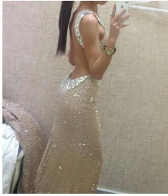 dress baige champagne dress prom dress sequin dress gold dress sparkly dress