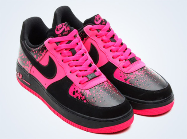 shoes pink splatter black and pink shoes nike air force 1
