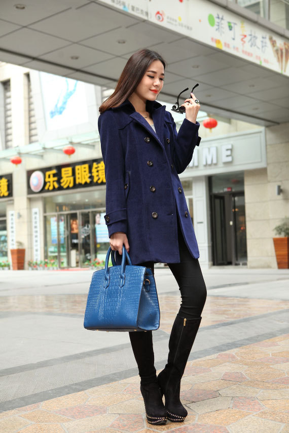 Navy Blue Wool Coat Double Breast Sheathy Trench Coat Oversized