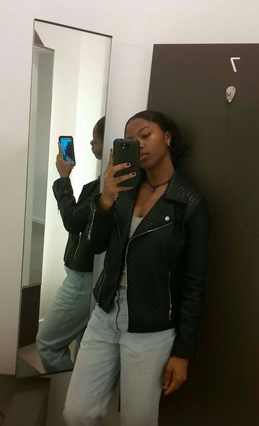 jacket black girls killin it rhyan_lexx forever 21 quilted faux leather moto jacket