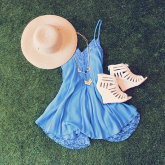 romper heels wedges dress blue dress summer dress lace dress hat shoes wedge heels nude sandals blue blue summer dress sky short dress cute lace cute dress mini dress