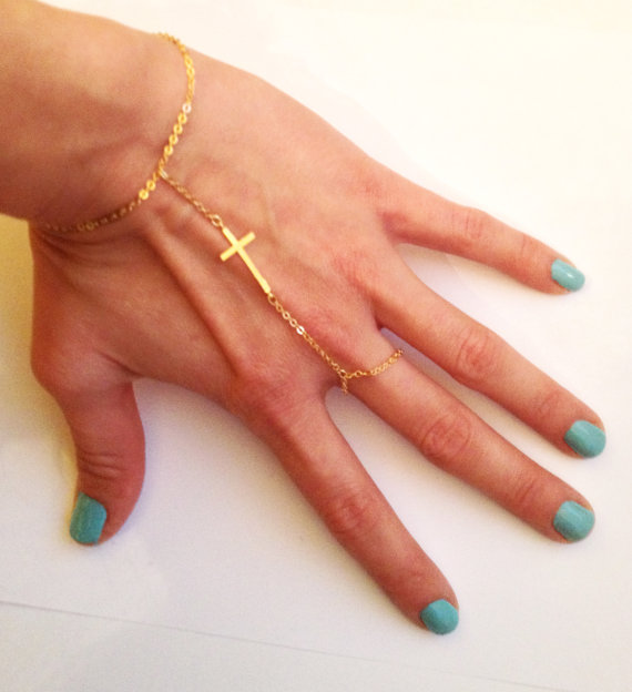 16k gold plated slave bracelet with cross by lyndyloudesigns