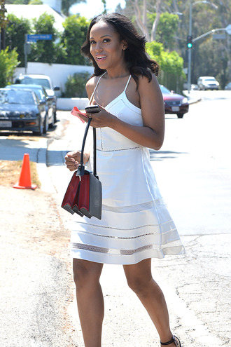 kerry washington dress white dress bag olivia pope black girls killin it celebrity style celebrities in white celebrity summer dress a line dress sandals sandal heels high heel sandals black sandals black bag