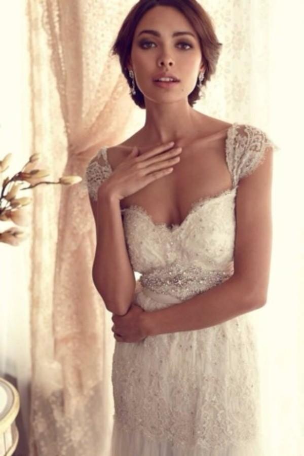 dress lace wedding dress wedding dress vintage clothes white dress wedding clothes anna campbell