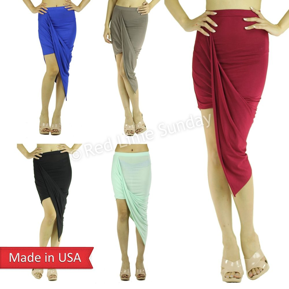 Draped Asymmetrical Wrapped High Low Solid Color Fitted Cutout Slim Pencil Skirt