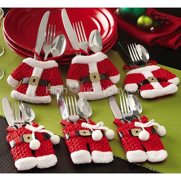2sets of santa suit christmas silverware holder pockets_5.49