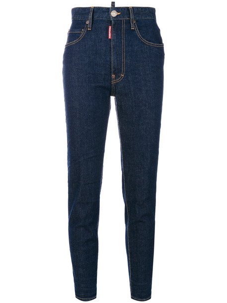 Dsquared2 jeans high waisted high women spandex leather cotton blue
