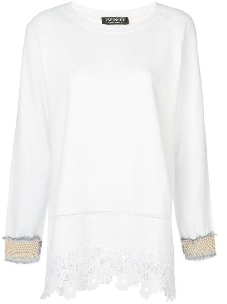Twin-Set - flower trimmed tunic top - women - Silk/Cotton/Polyester - S, White, Silk/Cotton/Polyester