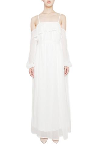 White Silk Chiffon Bell Sleeve Maxi Dress                           | Alyssa Nicole
