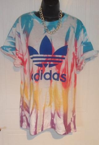 Unisex customised adidas grunge acid wash tie dye t shirt l