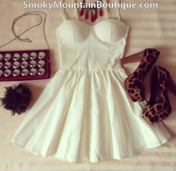 Sexy white bustier dress with adjustable straps