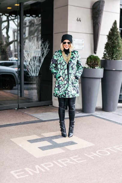 the courtney kerr blogger leather leggings coat green coat jacket sweater leggings shoes hat jewels sunglasses make-up
