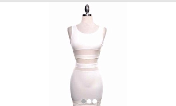 dress two-piece white bodycon mesh stripes see through white dress white 2 piece