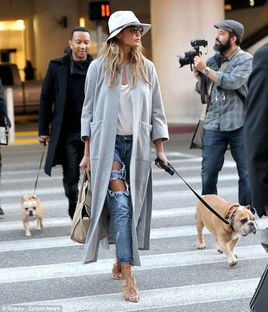 jacket coat jeans chrissy teigen nude high heels grey coat cardigan top topshop zara urban outfitters steve madden grey top ripped jeans john legend wife