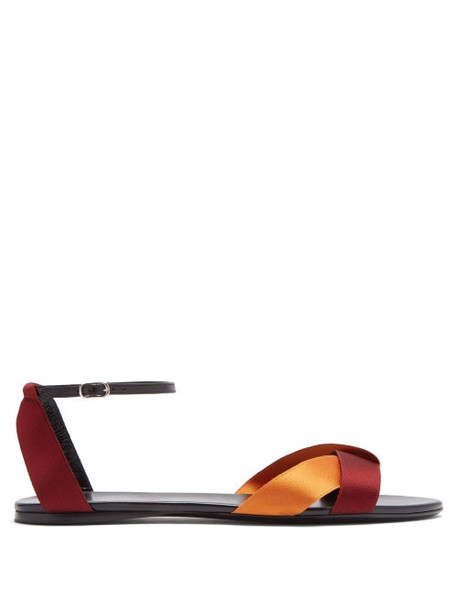 The Row - Japanese Silk Ribbon And Leather Sandals - Womens - Black Burgundy