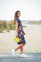 to be bright,blogger,dress,shoes,bag,sneakers,yellow bag,spring outfits