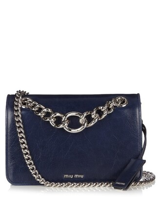 cross bag leather blue