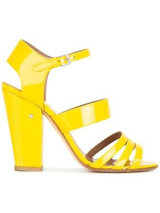 women sandals leather yellow orange shoes