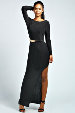 Casey Scoop Back Belted Maxi Dress at boohoo.com