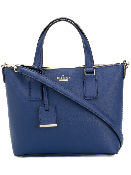 Kate Spade - logo tote - women - Leather/Polyester - One Size, Blue, Leather/Polyester