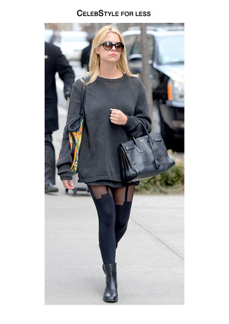 celebstyle for less oversized sweater grey sweater leather bag tights halter neck sunglasses black boots round sunglasses ashley benson ankle boots bag charcoal