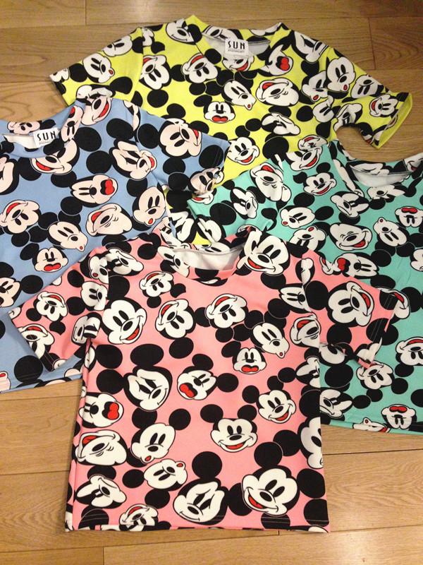 Taobao 3.12 better expression mickey mouse head color t shirt tops Japan Korea retro cartoon harajuku streeturwvooqlkin from English Agent:BuyChina.com