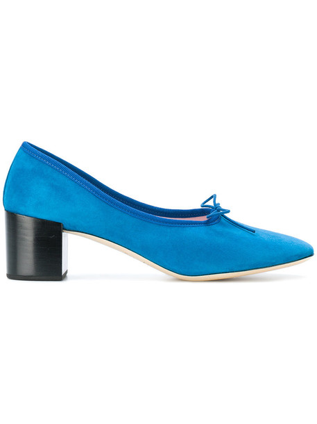 Repetto bow women pumps leather blue suede shoes