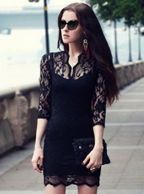 Black Vintage Lace Fitted Dress - Designer Shoes|bqueenmylady.com