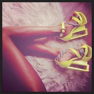 shoes yellow neon heels neon yellow heels high heels stilettos open toe wedges brown straps cut out heels snake skin