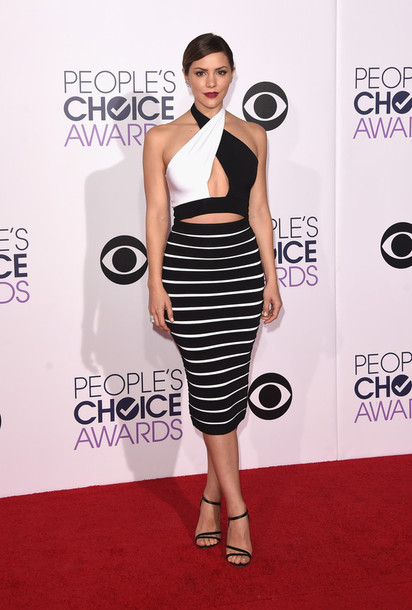 dress black and white pencil skirt crop tops katherine mcphee