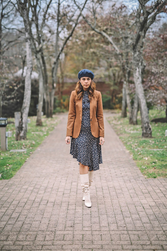 dress tumblr midi dress asymmetrical dress asymmetrical blazer brown beret boots white boots