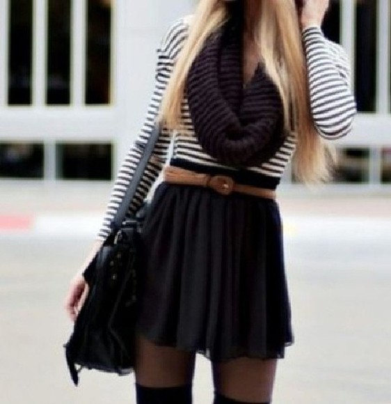 shirt striped shirt scarf skirt bag