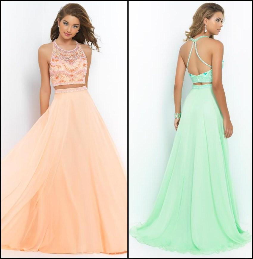 Discount 2014 New Arrival Two Piece Long Prom Dresses Halter Beading A-Line Floor-length Chiffon Evening/Formal Gowns Online with $124.95/Piece | DHgate