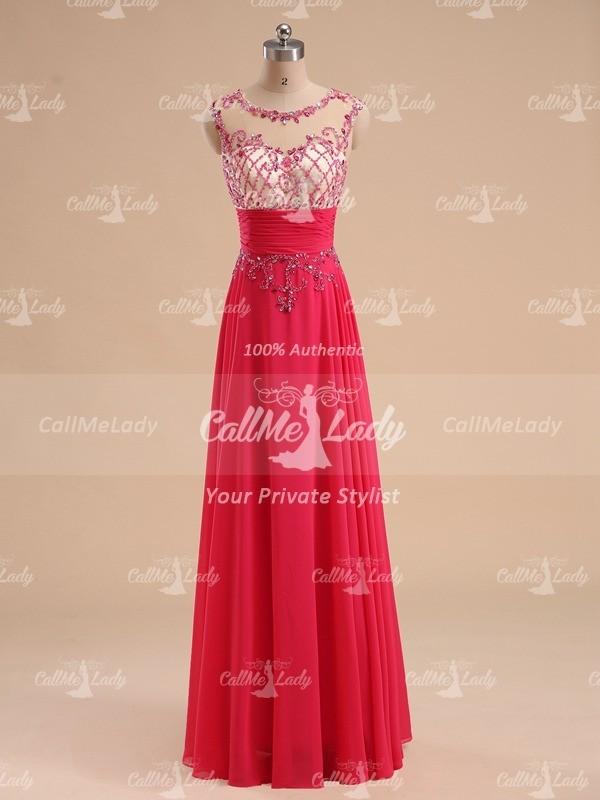 Fuchsia sleeveless high neck long chiffon prom dress - CallMeLady