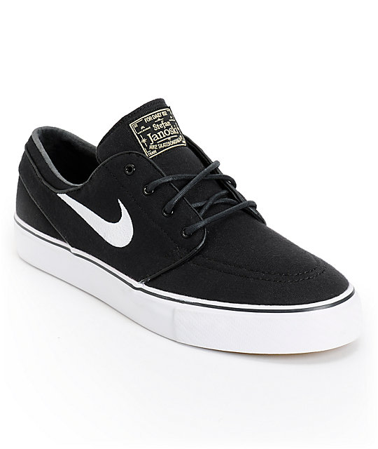 Nike Sb Zoom Stefan Janoski Black Amp White Canvas Skate Shoes