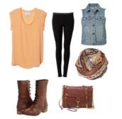 shirt,scarf,boots,vest,back to school,orange,combat boots,orange shirt
