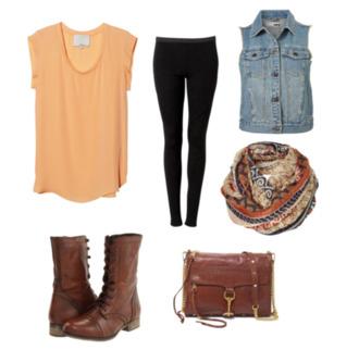 shirt scarf boots vest back to school orange combat boots orange shirt