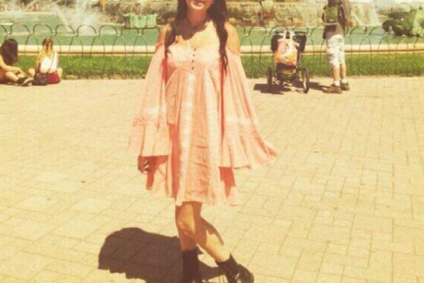 dress bell sleeves elephant sleeve festival dress pink dress boho dress hippie dress