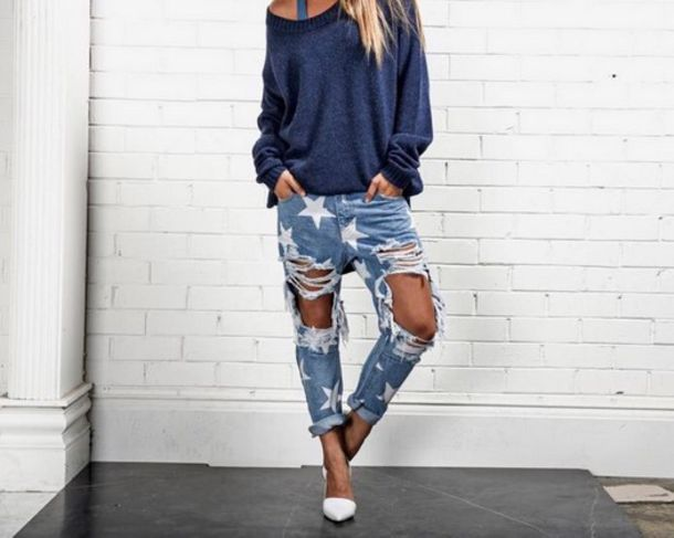 Jeans: one teaspoon, stars, denim, destroyed boyfriend jeans ...