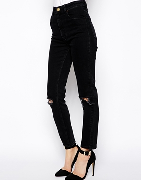 ASOS | ASOS Farleigh High Waist Slim Mom Jeans in Washed Black with Busted Knees at ASOS
