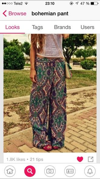 pants bohemian colured bohemian pants