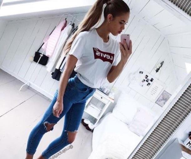 shirt, cute shirt, levi's, levi's shirt, white levi's ...