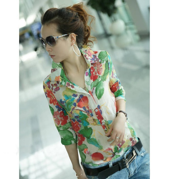Women turn Down collar button chiffon blouse Shirt top lady Casual ...