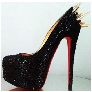 Black Diamond Pumps Gold Spikes Studded Shoe Rhinestone