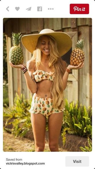 swimwear bikini bikini top bikini bottoms hipster bikini pineapple print pineapple beach